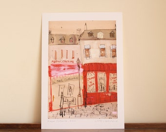 PARIS PRINT, paris wall art, paris bedroom decor , paris illustration print, Watercolor Painting, Giclée Print, French Drawing, Montmartre