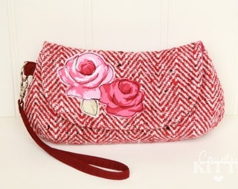 Red herringbone wool wristlet clutch - pouch with rose applique