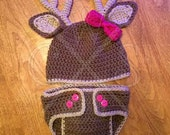 Crochet Girls Deer Hat and Diaper Cover Set with Customizable Colored Bow!