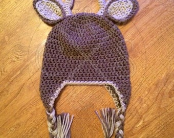 Handsome Boys Ear Flap Style Crochet Deer Hat with Tassles!