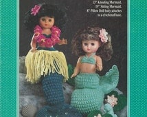 "Crochet Pattern Leaflet - Sea Mist MERMAIDS PILLOW DOLL - Bed Dolls - 13"" Kneeling, 19"" Sitting, 8"" Pillow - - Water Lilies & Pads, Outfits"