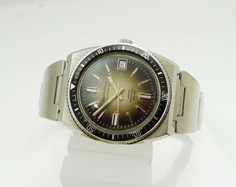 Caravelle 666 Feet Bulova Men's Divers Watch 1975 Stainless Steel Case West German 17 Jewel Automatic Movement