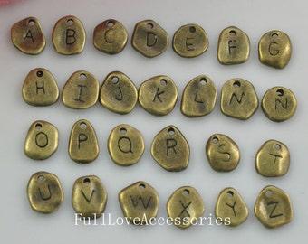 26 Alphabet Letter Charm Pendant Antique Brass Initial Charm 9x10mm