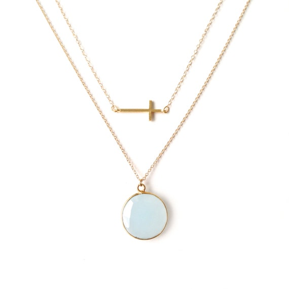 Blue Chalcedony + Gold Sideways Cross Necklace