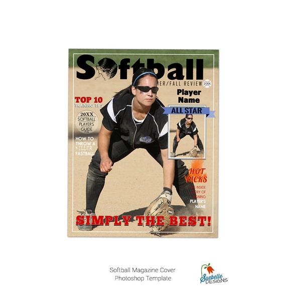 softball magazine cover template 001 by suebelledesigns on etsy. Black Bedroom Furniture Sets. Home Design Ideas