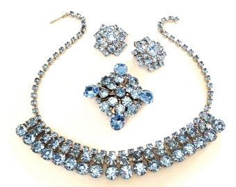 Blue Rhinestone Necklace, Brooch, and Earring Parure