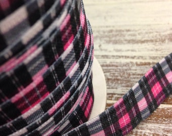Pink Plaid Fold Over Elastic  - 5 Yards