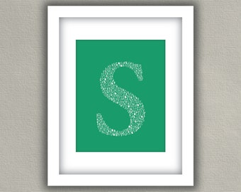 Personalized Monogram Letter Print - Typography Wall Art - Emerald Green