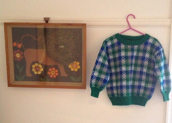 Childrens vintage jumper acrylic checkered knit 6 years plus green and blue