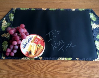 Wine Grape Print Chalk Cloth Table Runner // 30 Inch Wine Table Runner