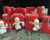 Vintage 1950s Ceramic Christmas Noel Angel Candle Holders w/Gift Wrap + Free US Shipping