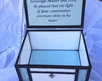 Stained glass baptism, christening, memory, keepsake gift box