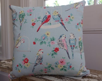 Cath Kidston Big Budgies Cotton Duck Cushion Cover/pillow backed with Hot Pink and White Dot Cath Kidston Fabric