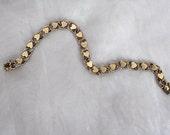 Heart Bracelet - Heart Jewelry - 14K Gold Bracelet - 1950s Chain Link Bracelet - Heart Chain Bracelet - Love Gift - Gift for Bride