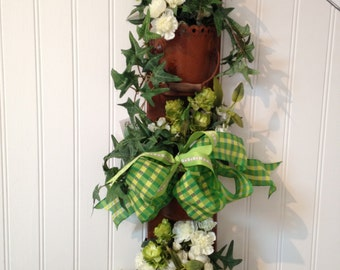 Rustic Pail Trio with Flowers and Green Plaid or Toile Ribbon