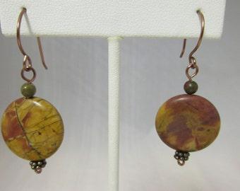 Earrings, Gemstone, Jasper, Wire, Picture Jasper, Copper, Picasso, Copper Wire, Dangle