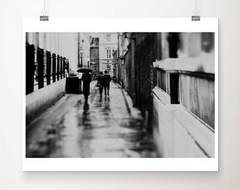 Cambridge photograph street photography black and white photography rain photograph umbrella photograph Cambridge print