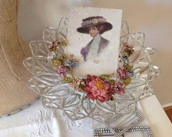 Glamorous vintage shabby cottage boudoir cherub pedestal bowl