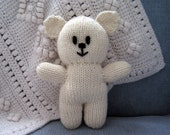 Natural Fiber Hand Knit Cream Teddy Bear, Children's Stuffed Toy, Soft Plush Stuffie, Baby Shower, Nursery Decor, Stocking Stuffer