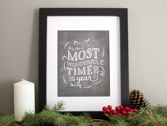 Christmas Art Print, Vintage Chalkboard Artwork, Holiday Decor, Hand Lettering, 8x10 Chalkboard Art Print - Most Wonderful