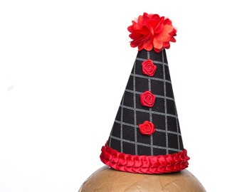 Clown Hat Black With Red Accents
