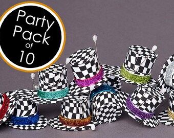 Mad Hatter Hat Mad Hatter Tiny Top SET OF 10 Hats Mad Hatter Party Favors
