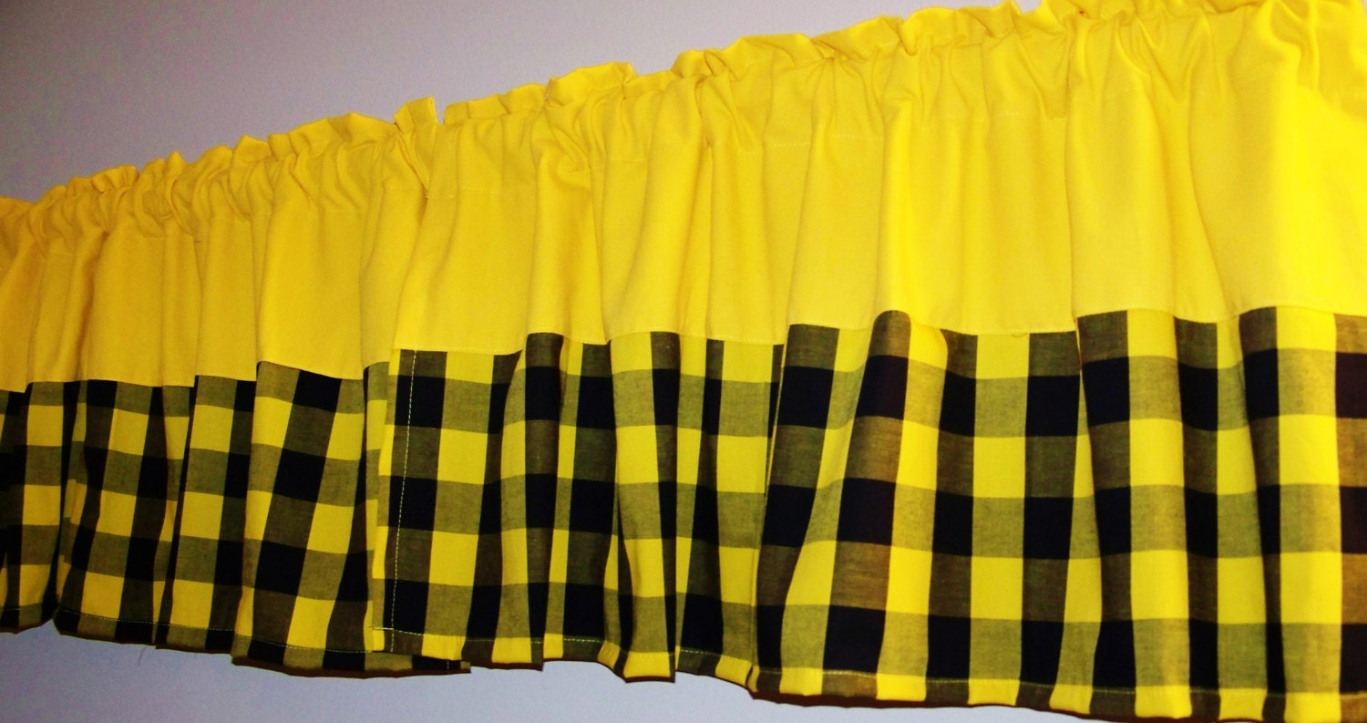 Color block gingham valance bordered valance curtain yellow for Photo sunshine valence