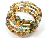 Memory Wire Bracelet, Brown Beaded Bracelet, Boho Style Beaded Bracelet,Seed Beads, Handmade Custom Jewelry, Women's Jewelry