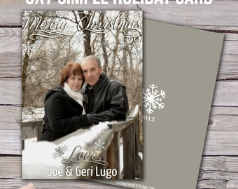Gray snowflake Christmas card