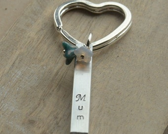 Mum Sister Nan Mom Aunt Personalised Hand Stamped Aluminium Aluminum Keyring Bar with Flower Beads UK Seller OOAK