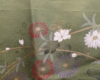 SF1296 Vintage Japanese Silk Shimmery Green Hand Painted Silk Fabric