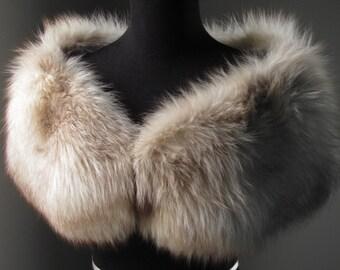 Ultimate Luxury Gift Or Wedding Bridal Accessories/ Stunning Hollywood Starlet Marble Norwegian Grey Brown Fox Fur Stole/ Vintage Wrap Shrug
