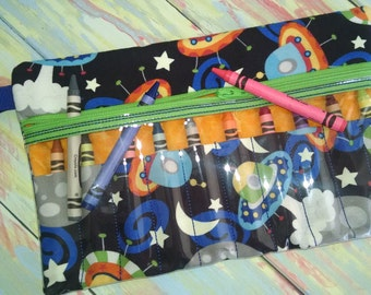 """Zippered Crayon Case,  Glow in the Dark Outer Space Design, 6"""" x 9.5"""""""