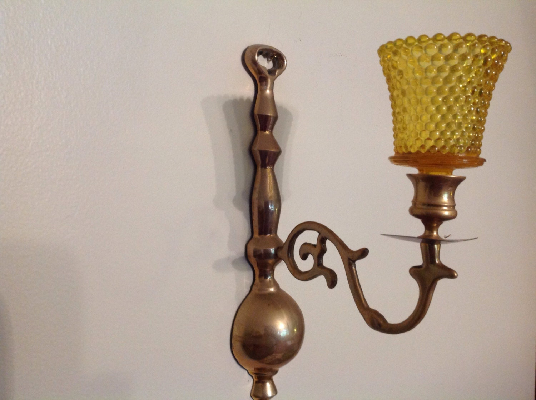Wall Sconce Votive Candle Holder : Vintage Decorative Brass Wall Sconce Votive Candle Holder