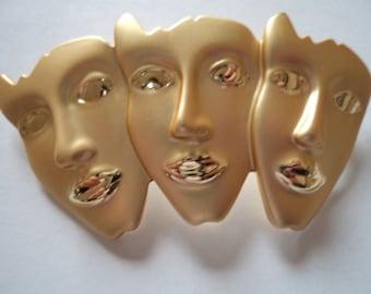 Vintage Unsigned Brushed Goldtone 3 Face Masks Brooch/Pin (Large)