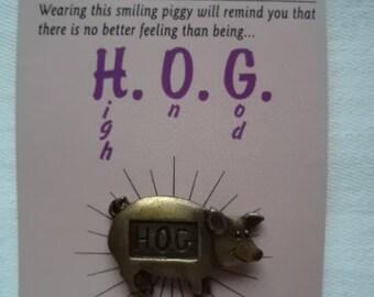 Vintage Signed JJ Pin Tac God's Creatures Hog