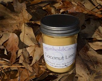Coconut Lime 8oz Hand Poured Candle, Soy-Paraffin, Triple Scented