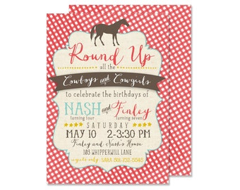 Cowboy and Cowgirl Birthday Party Invitation (farm, petting zoo, boy and girl party)