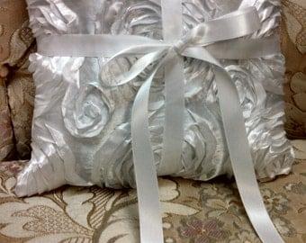 elegant  rossette ring bearer pillow white