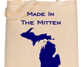 Michigan, Made In The Mitten, Canvas Tote Bag.