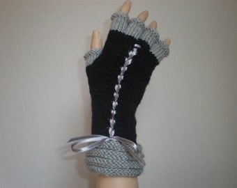 Handknitted black color with light grey accent color women gloves with half fingers/wrist warmers