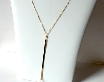 Double strand necklace ,double gold bar necklace , Cameron  necklace.