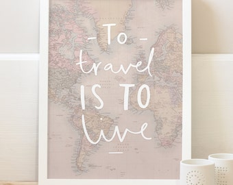 Travel World Map Print - World Map Poster - Word Map wall art - globe print - travel poster - home decor