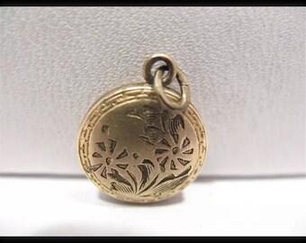 Vintage Gold Filled Locket Sealed Pendant Round ShapeFloral Design 10 MM /277