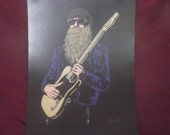 "Z Z Top / Billy Gibbons in Art is a Limited Edition Print of the Original Art by Artist Charles Freeman -10""x13"""