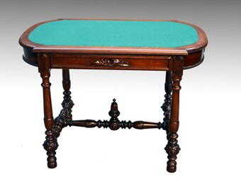 16627 Antique Walnut Victorian Library Table Writing Desk