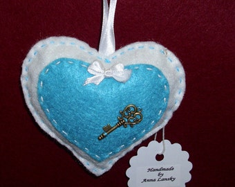 Felt Heart Ornament with a Tiny Key/GiIft for Valentine's Day/Doorknob Pillow/Doorknob Hanger/Accent Point for Your Home Decor /