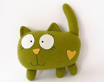 Green cat soft toy, green cat plush, green cat softie, green cat plushie, green cat pillow, green cat stuffed animal, green cat toy