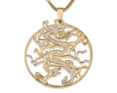 "Dragon Pendant and Necklace Jewelry, Chinese Dragon Coin Hand Cut, 14 Karat Gold and Rhodium Plated, 1 1/8 "" in Diameter, ( # 460 )"