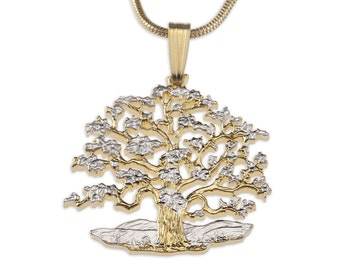 Tree of Life Pendant & Necklace, Hand Cut South Pacific Coin, ( # 646B )